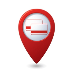 credit cards icon red map pointer vector image