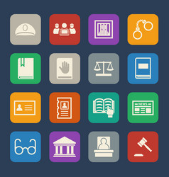 Legal law and justice icons set flat design vector