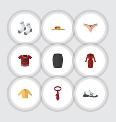 Flat icon garment set of banyan foot textile t vector