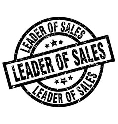 Leader of sales round grunge black stamp vector