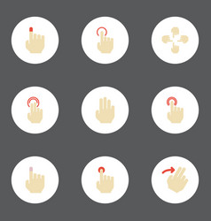 Flat icons finger sensory hold and other vector
