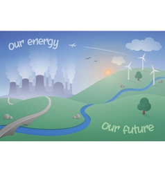 Landscape with power plant and wind farm vector