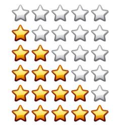 golden shiny rating stars vector image