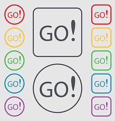 Go sign icon set of colored buttons vector