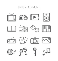 Set of simple monochromatic entertainment icons vector