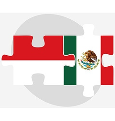 Indonesia and mexico flags in puzzle vector