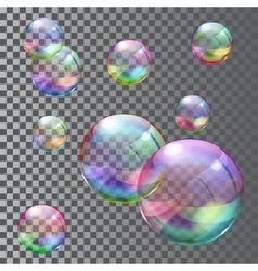 Multicolored soap bubbles vector image