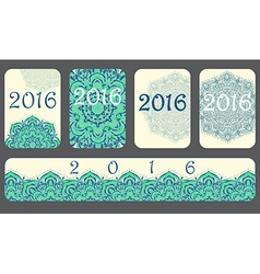 2016 calendar cover decorated with circular flower vector