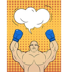 Boxer-style pop art with a bubble over his head vector