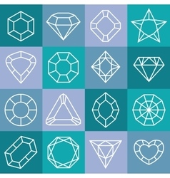 Linear diamond icons set vector