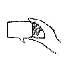 Hand holding blank speech bubble vector