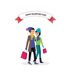Happy valentine day couple shopping vector