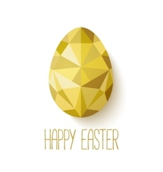 Happy easter greeting card in low poly triangle vector