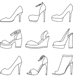 Set of shoes silhouettes on white background vector
