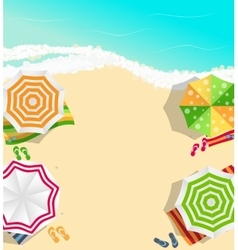 Summer time background sunny beach in flat design vector