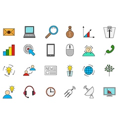 Business communication colorful icons set vector image