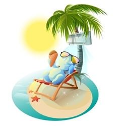 Snowman eating ice cream snowman in deck chair vector