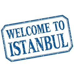 Istanbul - welcome blue vintage isolated label vector
