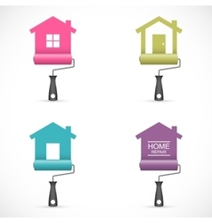 Set of house renovation icons with paint rollers vector