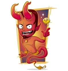 Cartoon evil red jinn with gold coin vector