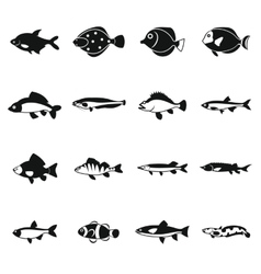 Cute fish icons set simple style vector