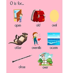 Many words begin with letter o vector