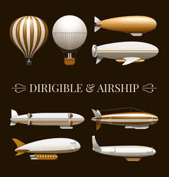 Balloon and airship icons set vector