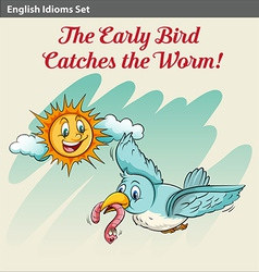 An early bird catching a worm vector