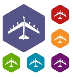 Armed fighter jet icons set vector