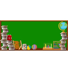 Blackboard and different school objects vector image