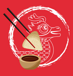 chinese dragon rice dumpling chopstick and sauce vector image