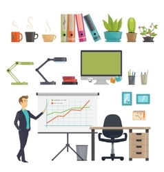 Colorful business workplace icons set vector