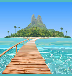 Drawn tropical island with a bridge in the sea vector