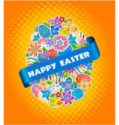Easter Symbol Egg and Spring flower3 vector image vector image
