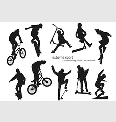 Extreme sport silhouette - skateboarding kick vector