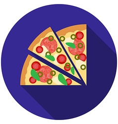 Flat design pizza icon with long shadow isolated vector image vector image