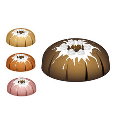 Four bundt cake topped with sugar glaze and icing vector