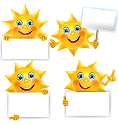 Funny sun with blank banner vector image vector image