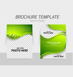 Green grass wave brochure vector
