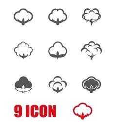 Grey cotton icon set vector