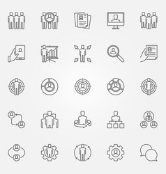 human resources icons set vector image vector image