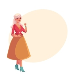 Old senior gray-haired elegant lady dancing vector image vector image