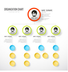 organization chart template with colorful circles vector image vector image