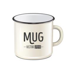Realistic enamel metal white mug isolated vector