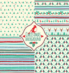 Set of four Christmas patterns vector image