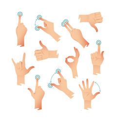Set of human hands applause tap helping action vector