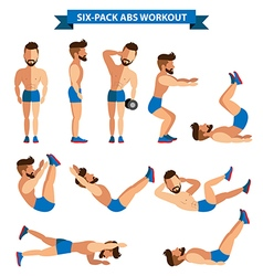 Six Pack Abs Workout for men for men exereise at vector image vector image