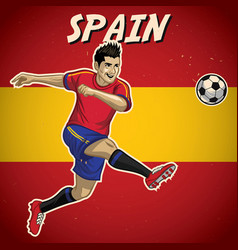 spain soccer player with flag background vector image vector image