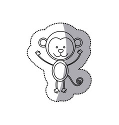 sticker monochrome contour with male monkey vector image vector image