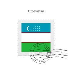 Uzbekistan flag postage stamp vector